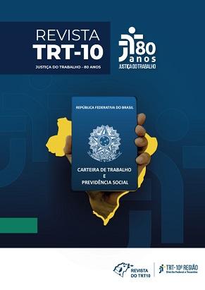 capa revista trt 10 com mapa do Brasil centralizado e em segundo plano uma carteira de trabalho